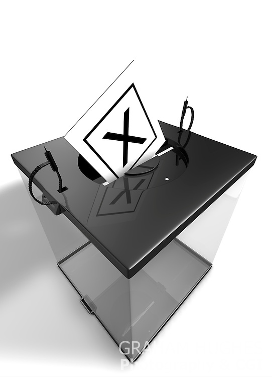 """""""X"""" Voting Slip in opening in lid of Modern Ballot Box."""