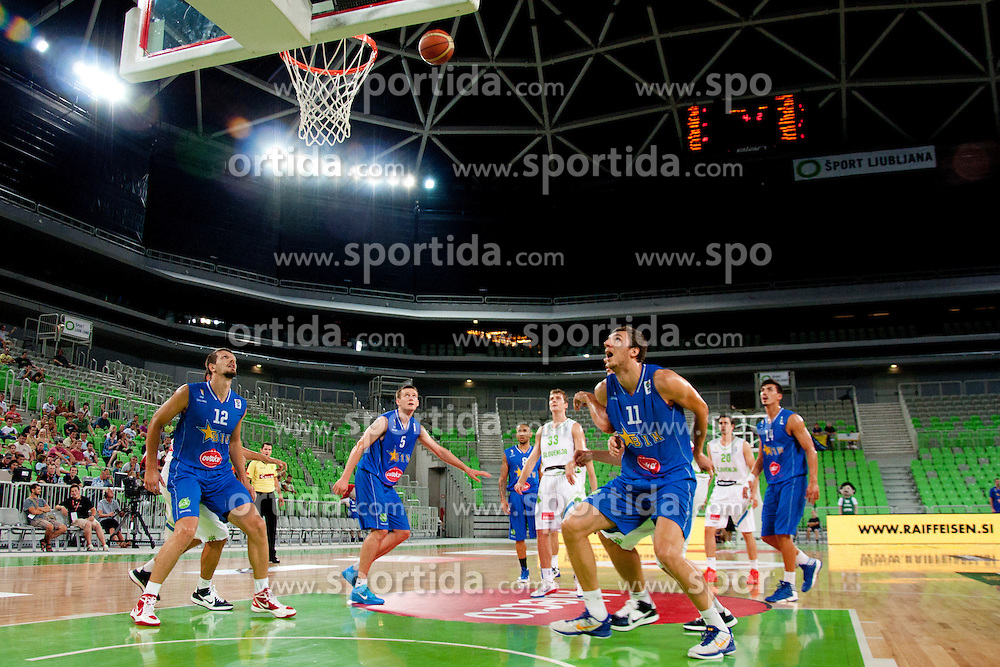 Players during friendly basketball match between National teams of Slovenia and Bosnia i Hercegovina of Adecco Ex-Yu Cup 2012 as part of exhibition games 2012, on August 3rd, 2012, in Arena Stozice, Ljubljana, Slovenia. (Photo by Urban Urbanc / Sportida)