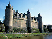 France, Brittany.  Josselin, castle on river Oust.