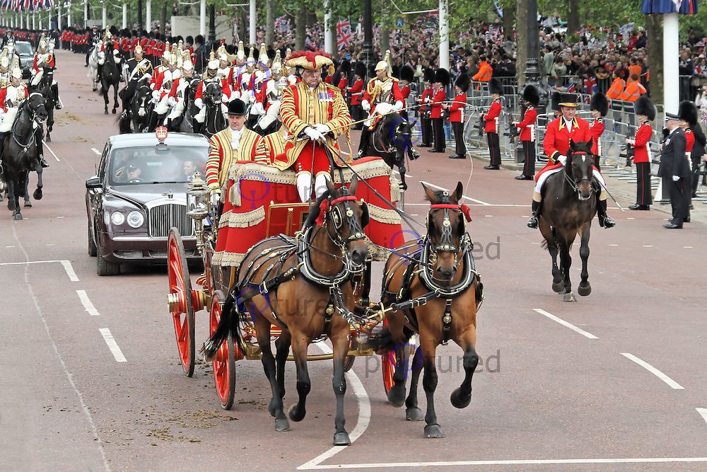 LONDON - JUNE 05: The Queen's Diamond Jubilee Royal carriage procession, The Mall, London, UK. June 05, 2012. (Photo by Richard Goldschmidt)