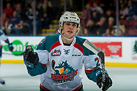 KELOWNA, CANADA - JANUARY 5: Leif Mattson #28 of the Kelowna Rockets celebrates a goal against the Seattle Thunderbirds on January 5, 2017 at Prospera Place in Kelowna, British Columbia, Canada.  (Photo by Marissa Baecker/Shoot the Breeze)  *** Local Caption ***