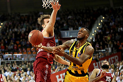 09.12.2017, Audi Dome, Muenchen, GER, EasyCredit BBL, FC Bayern Muenchen Basketball vs MHP Riesen Ludwigsburg, 12. Runde, im Bild Danilo Barthel (Muenchen) blockt Elgin Cook (Ludwigsburg). // during the easyCredit Basketball Bundesliga 12th round match between MHP Riesen Ludwigsburg and 12.Spieltag at the Audi Dome in Muenchen, Germany on 2017/12/09. EXPA Pictures &copy; 2017, PhotoCredit: EXPA/ Eibner-Pressefoto/ Marcel Engelbrecht<br /> <br /> *****ATTENTION - OUT of GER*****