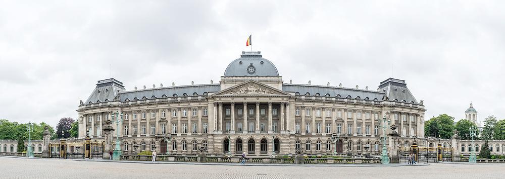 A panoramic shot of the Royal Palace of Brussels, the official palace of the Belgian royal family.