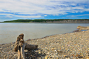 Shoreline of the Arctic Red River (Mackenzie River). About 100 Kms south of Inuvik<br /> Dempster Highway<br /> Northwest Territories<br /> Canada