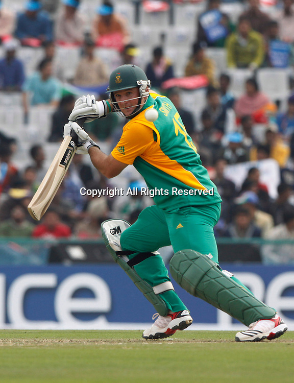 03.03.2011 Cricket World Cup from the Punjab Cricket Association Stadium, Mohali in Chandigarh. South Africa v Netherlands. Graeme Smith captain of South Africa plays a shot during the match of the ICC Cricket World Cup between Netherlands and South Africa