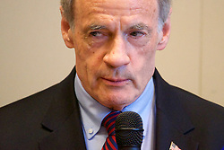 Sen. Bob Casey, D-Pa and Sen. Tom Carper, D-De share updates after a closed-door roundtable discussion on the per- and polyfuoroalkyl substances or PFAS pollution crisis in the region, at Horsham Township Library, in Horsham, PA, on April 8, 2019. The health crisis affects tens of thousands of residents in Bucks and Montgomery Counties in Eastern Pennsylvania.