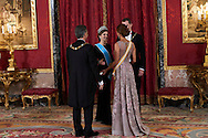 King Felipe VI of Spain, Queen Letizia of Spain, Mauricio Macri, President of Argentina, Juliana Awada attended a Gala dinner at the Royal Palace on February 22, 2017 in Madrid, Spain