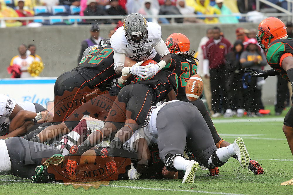 Bethune Cookman receiver Michael D. Jones (21) fumbles the ball on the goal line during the Florida Classic NCAA football game between the FAMU Rattlers and the Bethune Cookman Wildcats at the Florida Citrus bowl on Saturday, November 22, 2014 in Orlando, Florida. (AP Photo/Alex Menendez)