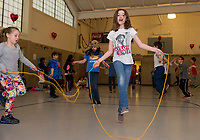 Jenna Bennett finds her groove duriung Elm Street School's annual Jump Rope for Heart event on Friday morning.  (Karen Bobotas/for the Laconia Daily Sun)