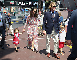 Andrea Casiraghi, Tatiana Santo Domingo and their children Sasha and India walk along the pit lane at the 75th Monaco Gran Prix, Monaco on May 28th, 2017. Photo by Marco Piovanotto/ABACAPRESS.COM