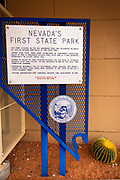 Nevada's first state park sign at the visitor center, Valley of Fire State Park, Nevada USA
