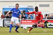 Eastleigh Midfielder, Sam Togwell (14) and Wrexham AFC Forward, Ntumba Massanka (18) during the Vanarama National League match between Eastleigh and Wrexham FC at Arena Stadium, Eastleigh, United Kingdom on 29 April 2017. Photo by Adam Rivers.
