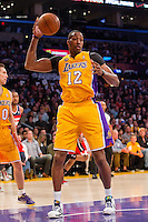 22 March 2013: Center (12) Dwight Howard of the Los Angeles Lakers grabs a rebound against the Washington Wizards during the first half of the Wizards 103-100 victory over the Lakers at the STAPLES Center in Los Angeles, CA.