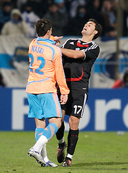 MARSEILLE, FRANCE - Tuesday, December 11, 2007: Liverpool's Alvaro Arbeloa clashes with Olympique de Marseille's Samir Nasri during the final UEFA Champions League Group A match at the Stade Velodrome. (Photo by David Rawcliffe/Propaganda)