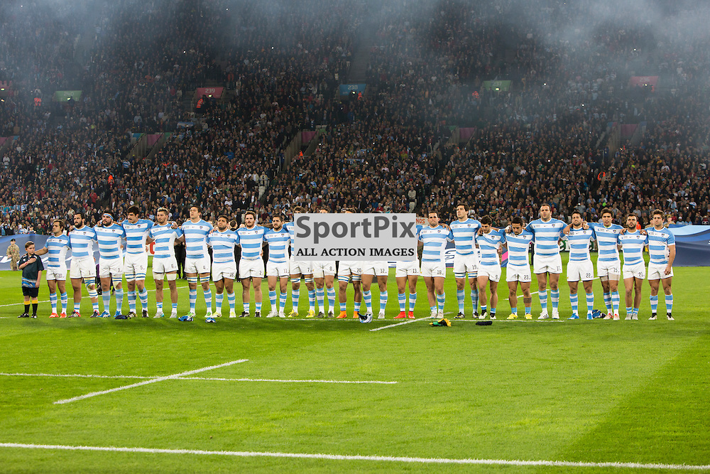 LONDON, ENGLAND - OCTOBER 30: Argentina Before the 2015 Rugby World Cup Bronze final match between South Africa and Argentina at The Olympic Stadium on October 30, 2015 in London, England. (Credit: SAM TODD | SportPix.org.uk)