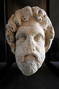 defaced ancient marble head Italy, at the Vatican museum Rome Italy