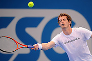 Brisbane, Australia, December 30: Andy Murray of Britain plays a forehand shot during a training session at Pat Rafter Arena ahead of the 2012 Brisbane International Tennis Tournament in Brisbane, Australia on Friday December 30th, 2011. (Photo: Matt Roberts/Photo News)