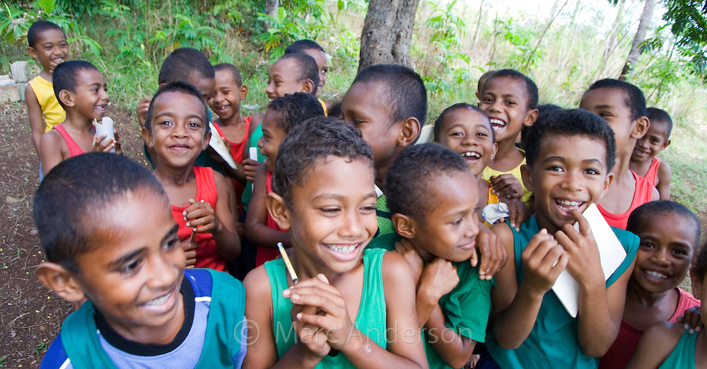 School Children Giggling & Laughing in a Playground, Vanua Levu, Fiji
