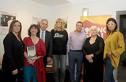 Maria Ruddy, Lindsay J Sedgwick, Austin Vaughan, Lise Hand, Paul Howard, Ursula Skerritt and Stephanie Preissner at the Rolling Sun Book festival opening at the Clew Bay Hotel on friday last.<br /> Pic Conor McKeown