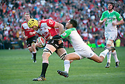 Lions v Highlanders. Lourens Erasmus of the Emirates Lions powering forward for his try with Aaron Smith of the Highlanders too late to stop him during the 2016 Super Rugby semi-final match at Ellis Park, Johannesburg, 30 July 2016. <br /> <br /> © Anton de Villiers / www.photosport.nz