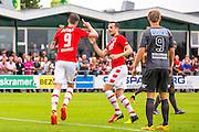 UITGEEST - 09-07-2016, AZ - FC Volendam, Complex FC Uitgeest, AZ speler Wout Weghorst heeft de 1-0 gescoord, AZ speler Mats Seuntjens feliciteert hem.