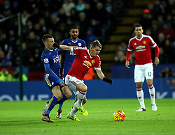 Jamie Vardy of Leicester City is handed off by Bastian Schweinsteiger of Manchester United - Mandatory byline: Robbie Stephenson/JMP - 28/11/2015 - Football - King Power Stadium - Leicester, England - Leicester City v Manchester United - Barclays Premier League
