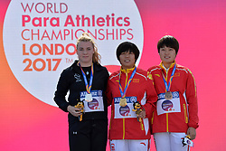 21/07/2017 : Noelle Lenihan (IRL), Silver Medal, Na Mi (CHN), Gold Medal, Yingli Li (CHN), Bronze Medal, F38, Women's Discus, at the 2017 World Para Athletics Championships, Olympic Stadium, London, United Kingdom