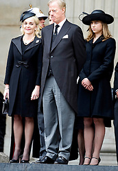 Son of Margaret Thatcher, stands with his wife Sarah his children Amanda and Michael (not in frame) as they leave St Paul's Cathedral at the end of the ceremonial funeral, St Paul's Cathedral, London, UK, Wednesday 17 April, 2013, Photo by: i-Images