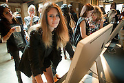 JADE WILLIAMS DESIGNING HER OWN TIMBERLAND SHOES, Design Your Own Timberland breakfast and Autumn/ Winter 2011 preview. Timberland. 1 Fournier St. London. Followed by an art tour by Julia Royce. 8 June 2011. <br /> <br />  , -DO NOT ARCHIVE-© Copyright Photograph by Dafydd Jones. 248 Clapham Rd. London SW9 0PZ. Tel 0207 820 0771. www.dafjones.com.