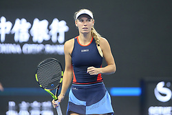 BEIJING, Oct. 3, 2018  Caroline Wozniacki of Denmark reacts during the women's singles second round match against Petra Martic of Croatia at China Open tennis tournament in Beijing, China, Oct. 3, 2018. Caroline Wozniacki won 2-0. (Credit Image: © Song Yanhua/Xinhua via ZUMA Wire)