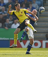 Photo: Steve Bond/Richard Lane Photography. Leicester City v Watford. Coca Cola Championship. 17/04/2010. Danny Graham (L) and Wayne Brown scrap for the ball