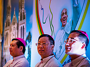 26 NOVEMBER 2017 - YANGON, MYANMAR: Catholic Bishops lead a prayer before a press conference about the visit of Pope Francis to Myanmar. The Pope will visit Yangon November 27 - 30. He will have private meetings  with government officials, military leaders and Buddhist clergy. He will also participate in two masses, a public mass in a sports complex on November 29 and a mass for Myanmar youth in St. Mary's Cathedral on November 30.    PHOTO BY JACK KURTZ
