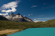 The intense turquoise of Lago Pehoe, Torres del Paine national Park, Patagonia, Chile