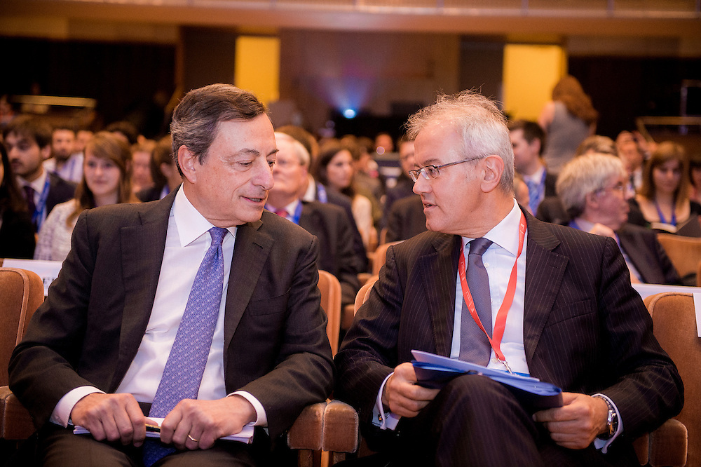 Brussels, Belgium, 9 June 2016<br /> Brussels Economic Forum 2016.<br /> Mario Draghi and Marco Buti.<br /> The Brussels Economic Forum (BEF) is the flagship annual economic event of the European Commission.<br /> The BEF brings together top European and international policymakers and opinion leaders as well as civil society and business leaders. It is the place to take stock of economic developments, identify key challenges and debate policy priorities.<br /> Photo: European Commission / Ezequiel Scagnetti