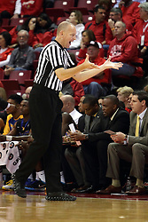 16 November 2015: James Durham signals an infraction to the scorer. Illinois State Redbirds host the Morehead State Eagles at Redbird Arena in Normal Illinois (Photo by Alan Look)