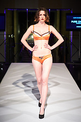 © Licensed to London News Pictures.  05/11/2014. OXFORD, UK. Oxford Fashion Week SS15 Lingerie Show at the Malmaison Hotel in Oxford. <br /> <br /> In this picture: Model wearing an outfit created by designer Pure Chemistry. <br /> <br /> Photo credit: Cliff Hide/LNP