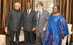 Mar 10, 2005; Cape Town, AFRICA; Indian External Affairs Minister, K. NATWAR SINGH (L), President of South Africa, THABO MBEKI (2-L), Foreign Minister of Brazil, CELSO AMORIM (2-R) and the Foreign Minister of South Africa, DR. NKOSAZANA DLAMINI-ZUMA (R) poses for a photograph before the opening of Second Trilateral Commission in Cape Town.