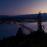 Hood River and the Columbia River Gorge as seen from White Salmon, Washington.