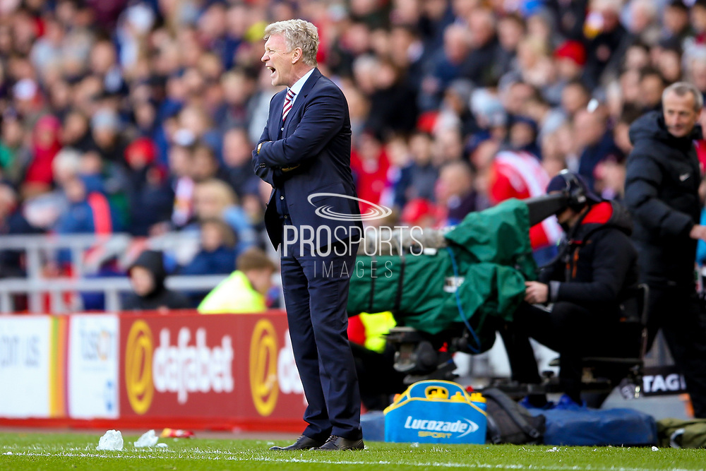 Sunderland Manager David Moyes shouts at his team  during the Premier League match between Sunderland and West Ham United at the Stadium Of Light, Sunderland, England on 15 April 2017. Photo by Simon Davies.