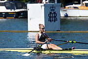 Henley on Thames, England, United Kingdom, 4th July 2019, Henley Royal Regatta, The Princess Challenge Cup. Elo LUIK, Molesey Boat Club, passing the one mile and one eight barrier,  Henley Reach, [© Peter SPURRIER/Intersport Image]<br /> <br /> 10:27:52 1919 - 2019, Royal Henley Peace Regatta Centenary,