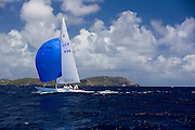 Dragon Class sailing  the Butterfly Race at the Antigua Classic Yacht Regatta.