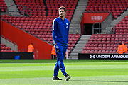 Marcos Alonso (3) of Chelsea on the pitch on arrival to St Mary's Stadium before the Premier League match between Southampton and Chelsea at the St Mary's Stadium, Southampton, England on 7 October 2018.