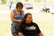 Battle of The Little Bighorn Reenactment, Jack Real Bird, Crow Indian, hair braided