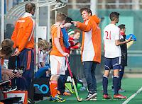 ROTTERDAM -    Richard de Snaijer, assistent coach Neth.    Practice Match  Hockey : Netherlands Boys U16  v England U16 . COPYRIGHT KOEN SUYK