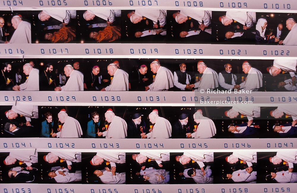 A detail of photos that are on sale to those who have shaken the hand of Pope John Paul II at the Vatican, on 3rd November 1999, in Rome, Italy. Jan Pawel II; born Karol Jozef Wojtyla (1920-2005) was head of the Catholic Church and sovereign of the Vatican City State from 1978 to 2005.