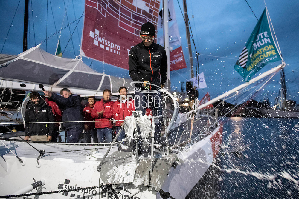 Baptism of Imoca La Fabrique, skipper, Alan Roura, godfather, Armel Le Cléach, during the Route du Rhum 2018, on November 1st, in Saint Malo, France, before the Route du Rhum sailing race to start on November 4th 2018 - Photo Olivier Blanchet / ProSportsImages / DPPI