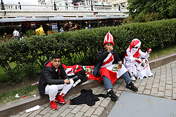 Peruvian football fans near Red Square in Moscow, Russia, ahead of the the run up to the first game of the 2018 World Cup.