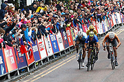 Arrival sprint, Men Road Race 230,4 km, Matteo Trentin (Italy) winner, Mathieu Van Der Poel (Netherlands), Wout Van Aert (Belgium), during the Cycling European Championships Glasgow 2018, in Glasgow City Centre and metropolitan areas, Great Britain, Day 11, on August 12, 2018 - Photo Luca Bettini / BettiniPhoto / ProSportsImages / DPPI - Belgium out, Spain out, Italy out, Netherlands out -
