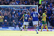 James McCarthy of Everton wheels away after opening the scoring during the Barclays Premier League match at Goodison Park, Liverpool<br /> Picture by Paul Chesterton/Focus Images Ltd +44 7904 640267<br /> 15/05/2016