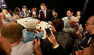 Florida quarterback Jeff Driskel talks with reporters during the SEC football Media Days in Hoover, Ala., Tuesday, July 16, 2013. (AP Photo/Dave Martin)